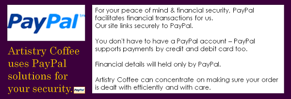 Artistry Coffee uses PayPal for your security